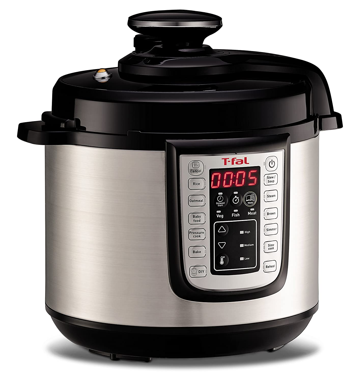 T-fal CY505E 12-in-1 Programmable Electric Multi-Functional Pressure Cooker with 25 Built-In Smart Programs / Ceramic Nonstick Cooking Pot and Stainless Steel Housing