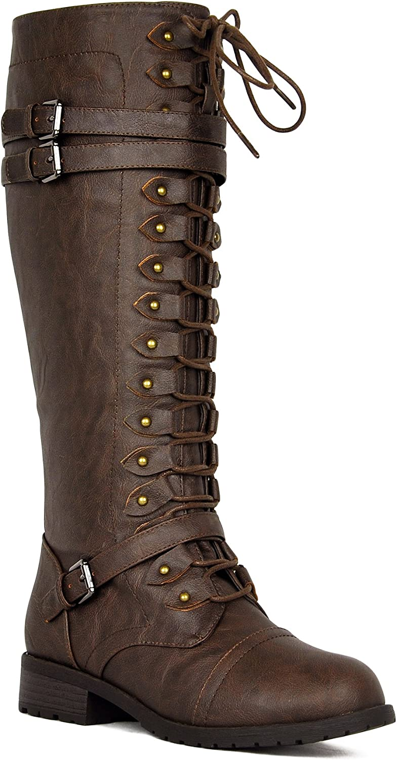 Knee High Riding Boots Lace Up