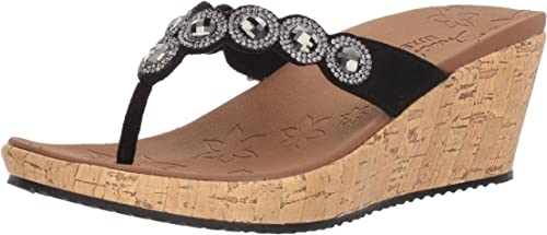 Womens Skechers 31724 BEVERLEE BIZZY BABE Rhinestone Wedge Platform Sandals