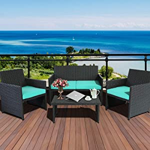Valita 4-Piece Patio PE Wicker Furniture Set Outdoor Rattan Conversation Loveseat Sofa & Armchair and Table,Turquoise Cushion