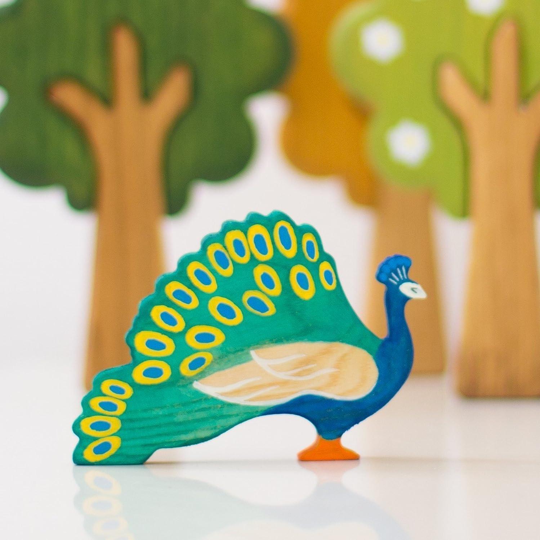 Wooden Peacock Toy Peafowl wildlife animals