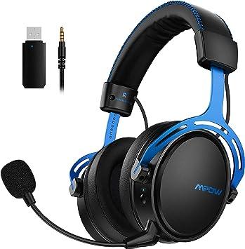 Mpow Air 2.4G Auriculares Gaming para PS4, PC, Xbox One, Estéreo Cascos Inalámbricos para Juegos , Micrófono con Cancelación de Ruido,Transmisor USB ...