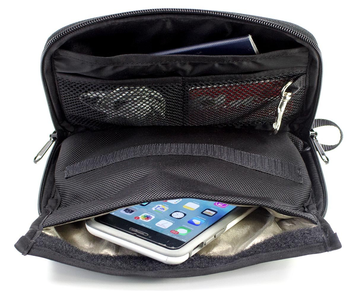 Anti-Spying Faraday cage Anti-Hacking Mission Darkness Mojave Faraday Phone Bag//Multi-Functional Travel case with Accessory Pockets and Built-in Faraday Sleeve//Signal-Blocking Anti-Tracking