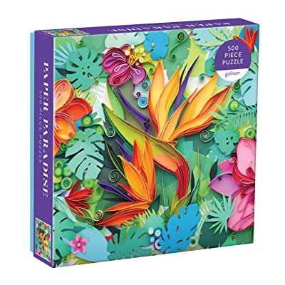 "Galison Paper Paradise Jigsaw Puzzle, 500 Pieces, 20""x20"" – Brightly Colored Scene of Paper Tropical Flowers and Plants – Challenging, Perfect for Family Fun – Fun Indoor Activity: Toys & Games"