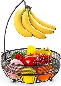 Bextsrack Fruit Basket Bowl with Banana Tree Hanger for Kitchen Counter, Dining Table, Bronze