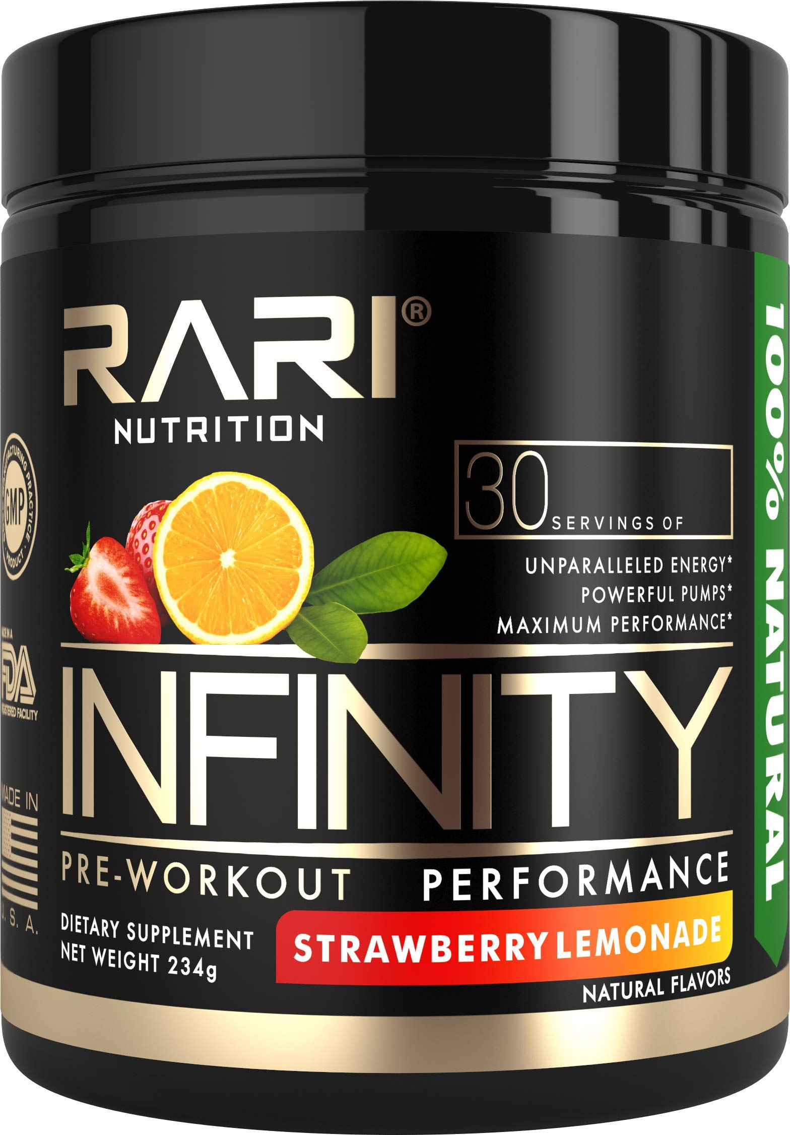 RARI Nutrition - INFINITY Preworkout - 100% Natural Pre Workout Powder - Keto and Vegan Friendly - Energy, Focus, and Performance - Men and Women - No Creatine - 30 Servings (Strawberry Lemonade) by RARI Nutrition