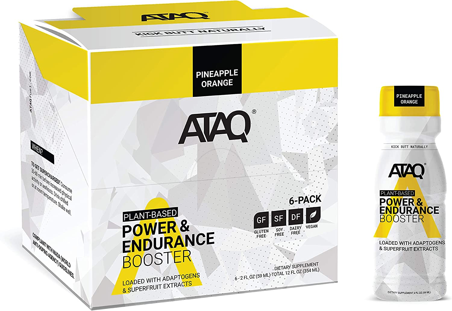 ATAQ Plant Based Power & Endurance Booster Shot, Pineapple Orange, Adaptogens & Nootropics for Sustained Performance, Naturally Sweetened, 2oz Bottle, 6 Count: Health & Personal Care