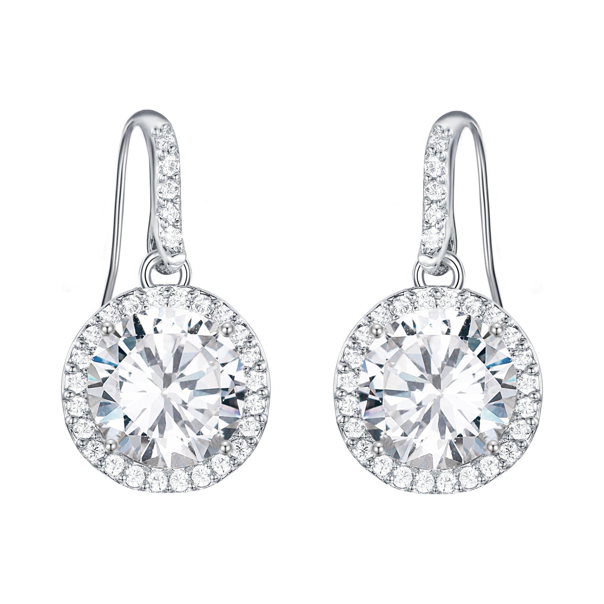 EVER FAITH Round Zircon Elegant Wedding Dangle Hook Earrings Clear Silver-Tone for Women, Brides