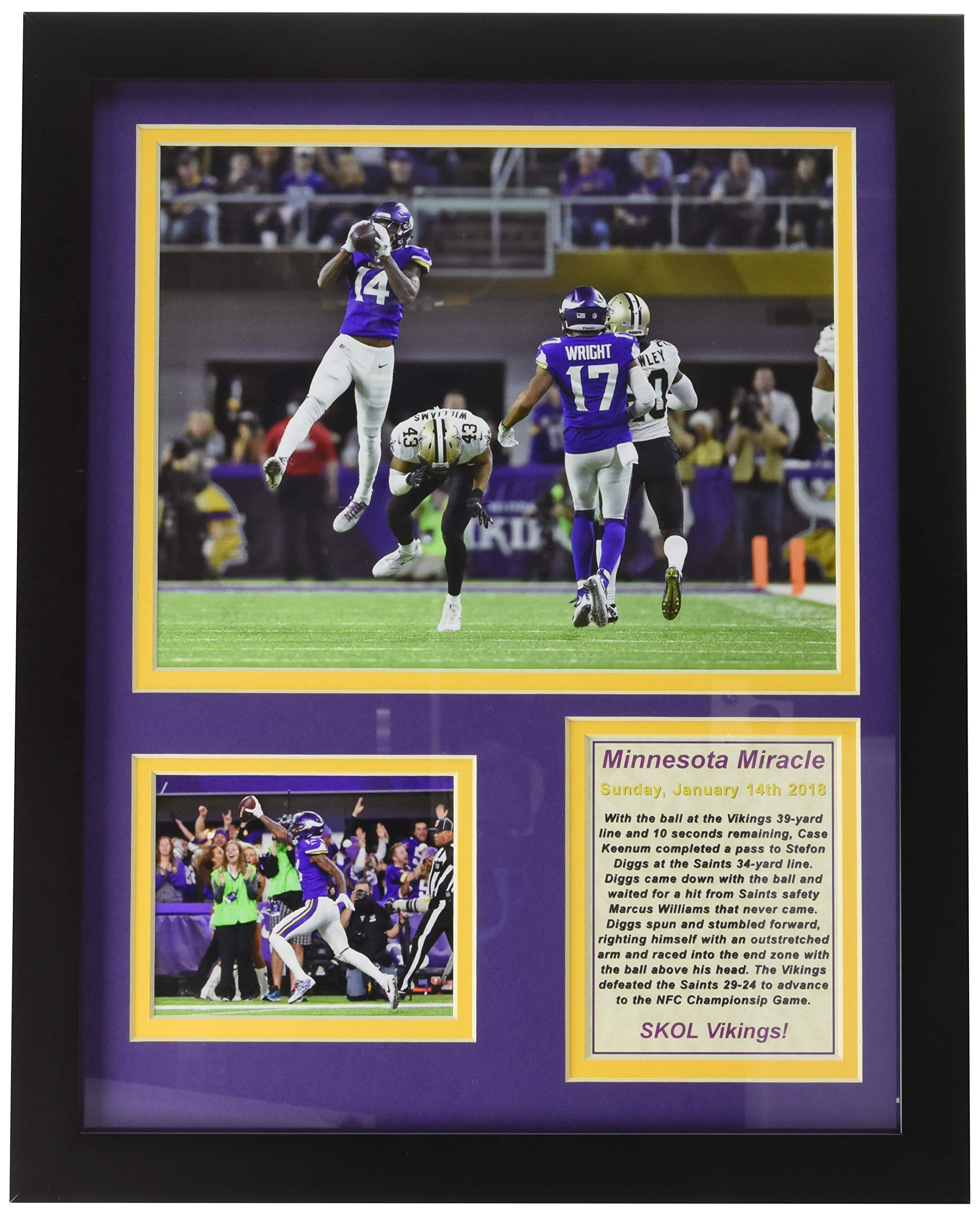 Minnesota Vikings - Minnesota Miracle - NFC Divisional Win - Framed 12''x15'' Double Matted Photos - Legends Never Die, Inc. by Legends Never Die