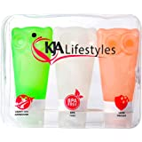Travel Bottle Set Of 3 By KJA | 3 oz Squeezable Leak Proof Silicone Bottles BPA Free TSA Approved FDA Certified Refillable Containers For Shampoo, Lotion, Conditioner & More | With Clear Toiletry Bag