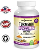 Turmeric Curcumin - Hyper Strength - Pain Relief, Health Joint, Anti Inflammatory & Cardiovascular Support - High Absorption 1500 mg Complex with Ginger, 95% Curcuminoids & Black Pepper Extract