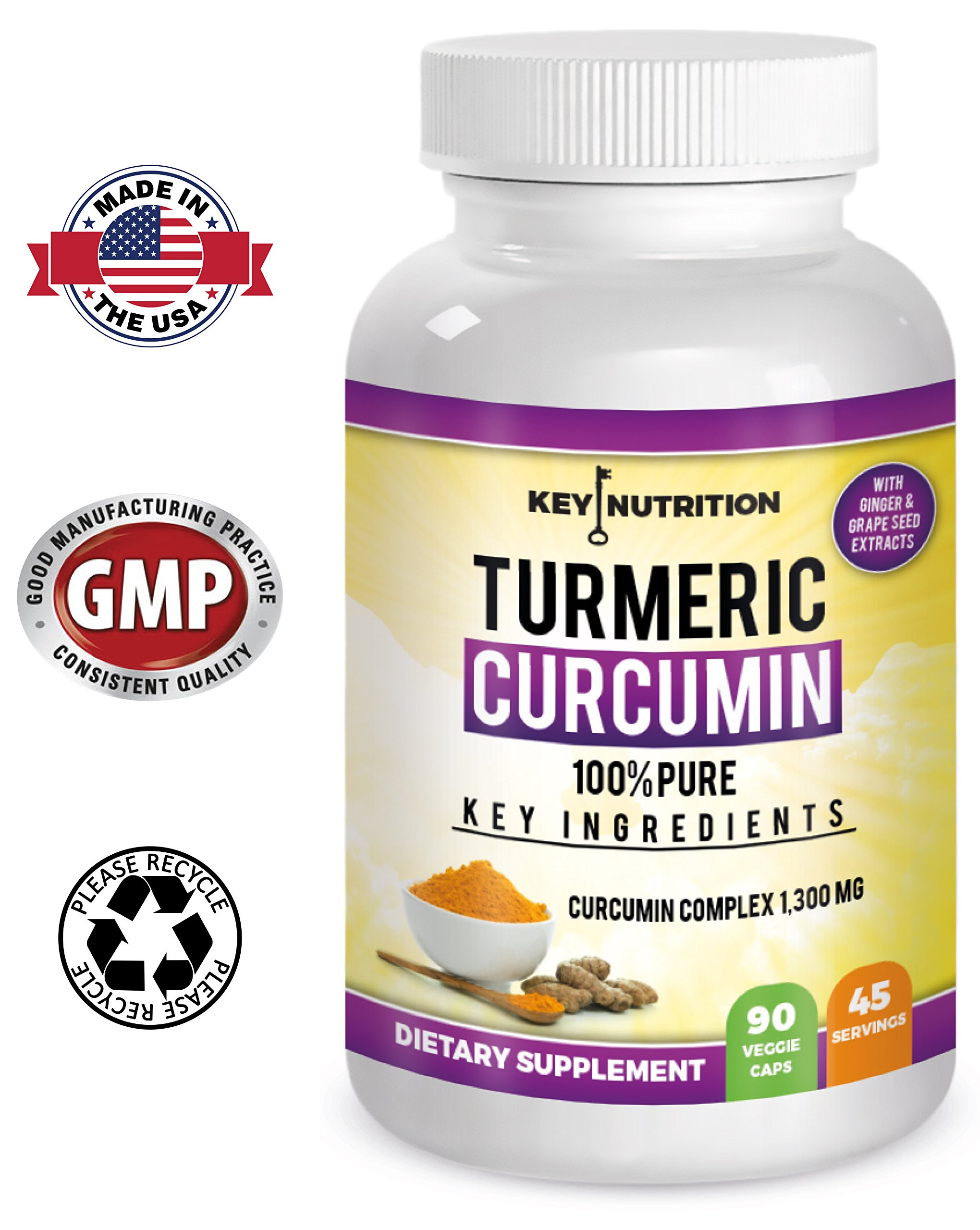 Turmeric Curcumin - Hyper Strength - Pain Relief, Joint Health, Anti-Inflammatory & Cardiovascular Support - High Absorption 1500mg Complex with Ginger, 95% Curcuminoids & Black Pepper Extract