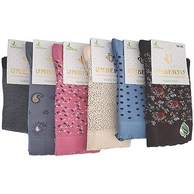 6 Pairs Umberto Bamboo Seamless Casual Pattern Socks (Mix 5) at Amazon Women's Clothing store