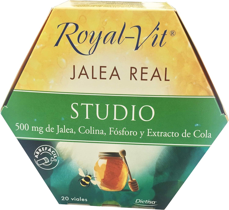 Royal-Vit Jalea Real Studio 20 Viales de 10 ml de Dietisa - Complemento Alimenticio con 500 mg de Jalea Real, Colina, Fósforo