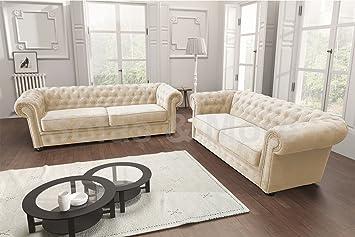 Chesterfield Style Corner Sofa Set 3 2 Seater Armchair Cream Fabric