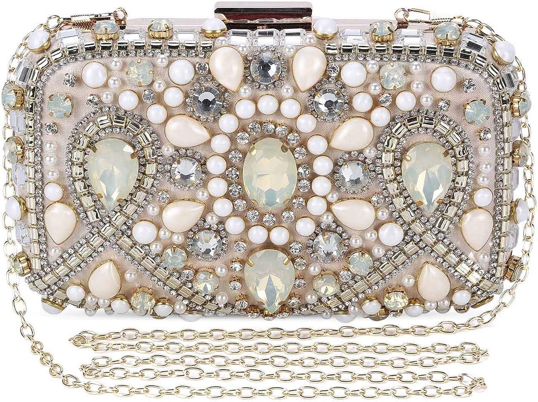 Women/'s Glitter Pearls Rhinestone Evening Bag Clutch Purse Handbag Crossbody as described Black
