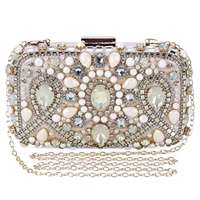 8739e9d0fa Clocolor Evening Bags and Clutches for Women Crystal Rhinestone for Wedding  Party Beaded Clutch Purse Pearl