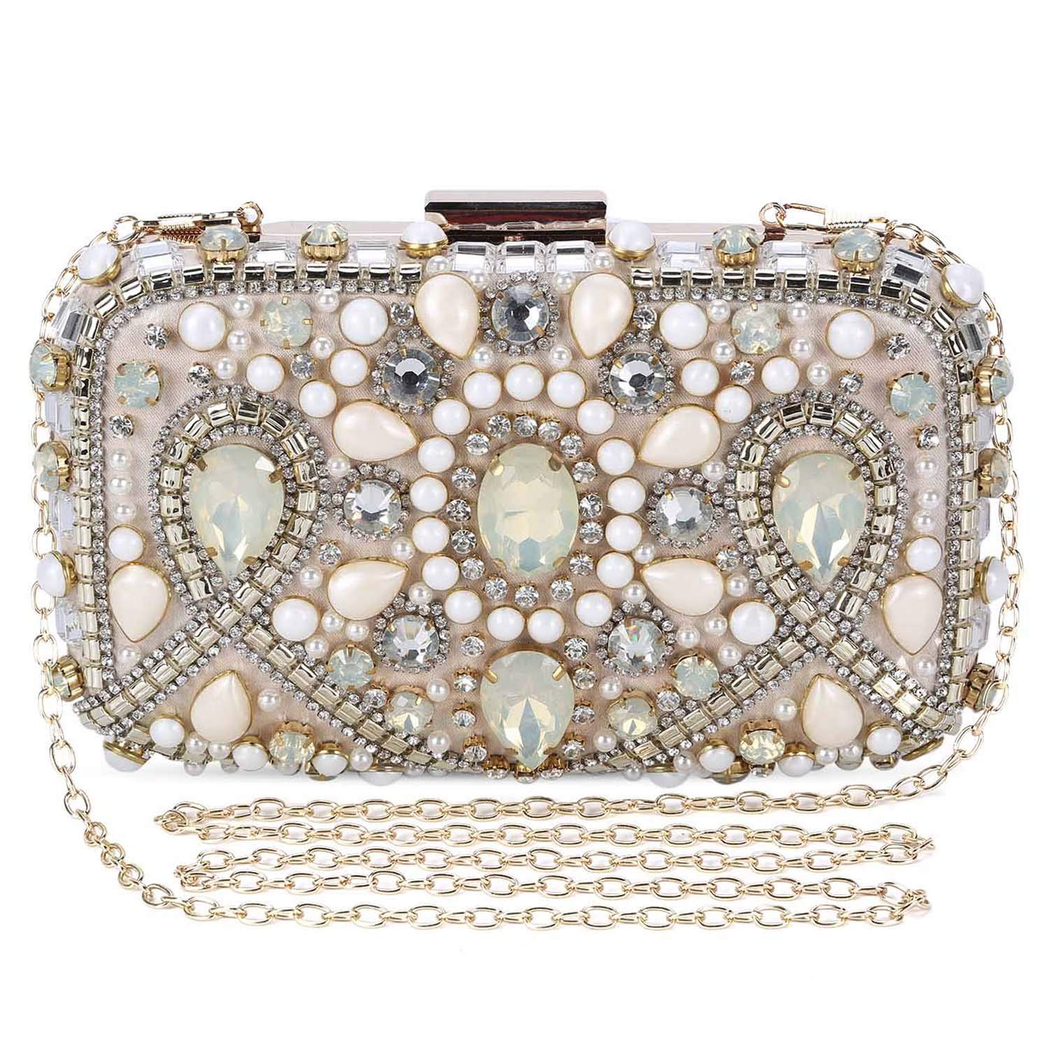 Clocolor Evening Bags and Clutches for Women Crystal Rhinestone for Wedding Party Beaded Clutch Purse Pearl Handbag(apricot)