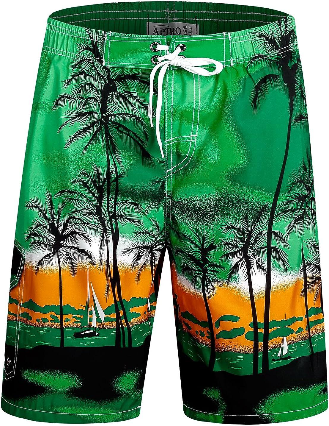 APTRO Men's Swimming Trunks with Pockets Beach Swimwear Quick Dry Elastic Waist Board Shorts