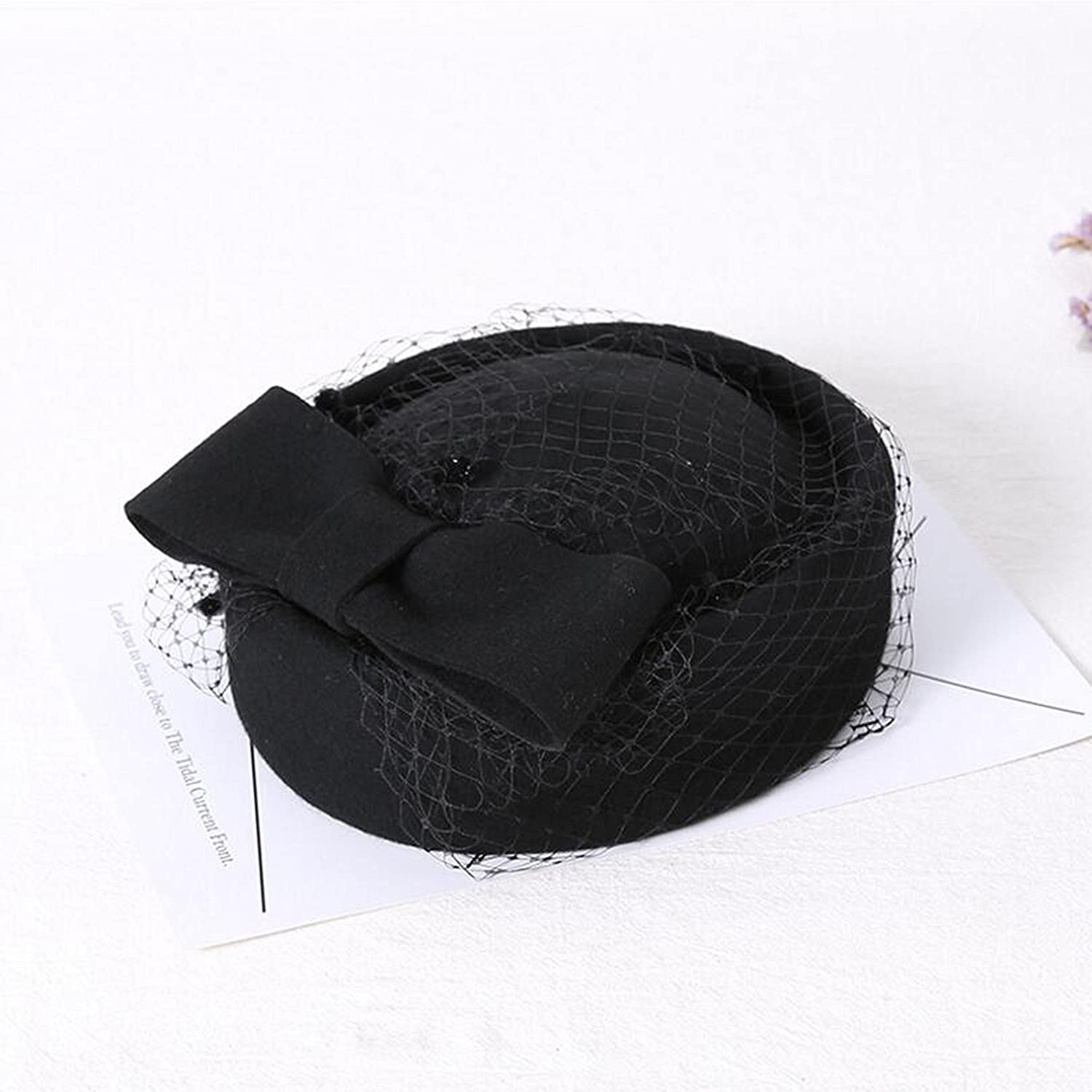 8839cfe1f06 Amazon.com  Bow Mesh England Style Lace Wool Hat Ms Winter Small Top ...