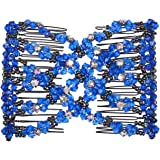 Lovef Ez Magic Beads Combs Double Stretching Combs Clips, perfect for Easy Ponytails, UpDos and Twists, Thick and Thin Hair, New Hair Accessory for Popular Hairstyles (Blue)