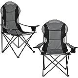 [casa.pro] Set de 2 sillas de Camping Negro y Gris