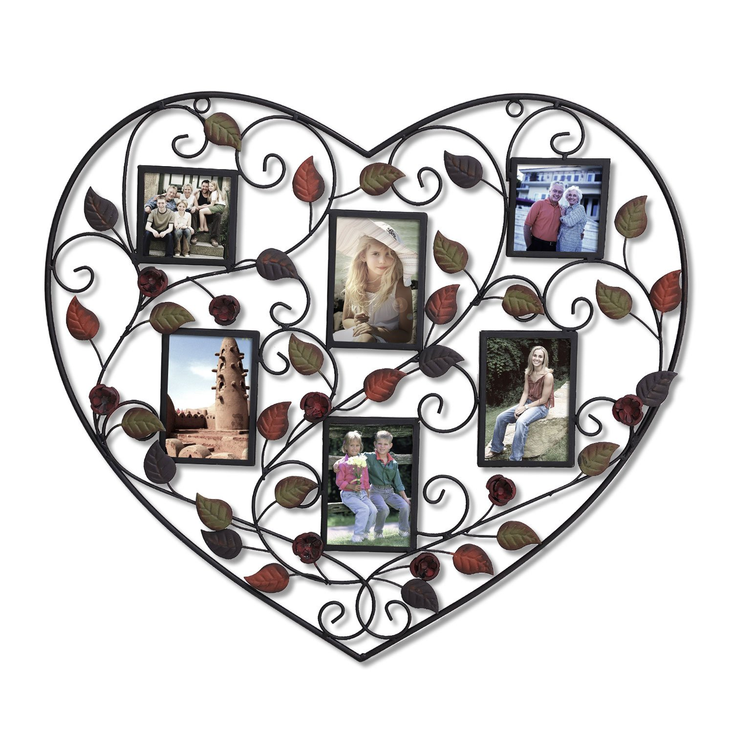 Adeco 6-Opening Decorative Bronze Iorn Metal Heart Shape Wall Hanging Collage Picture Photo Frame, 3.5x5'' and 3.5x3.5''