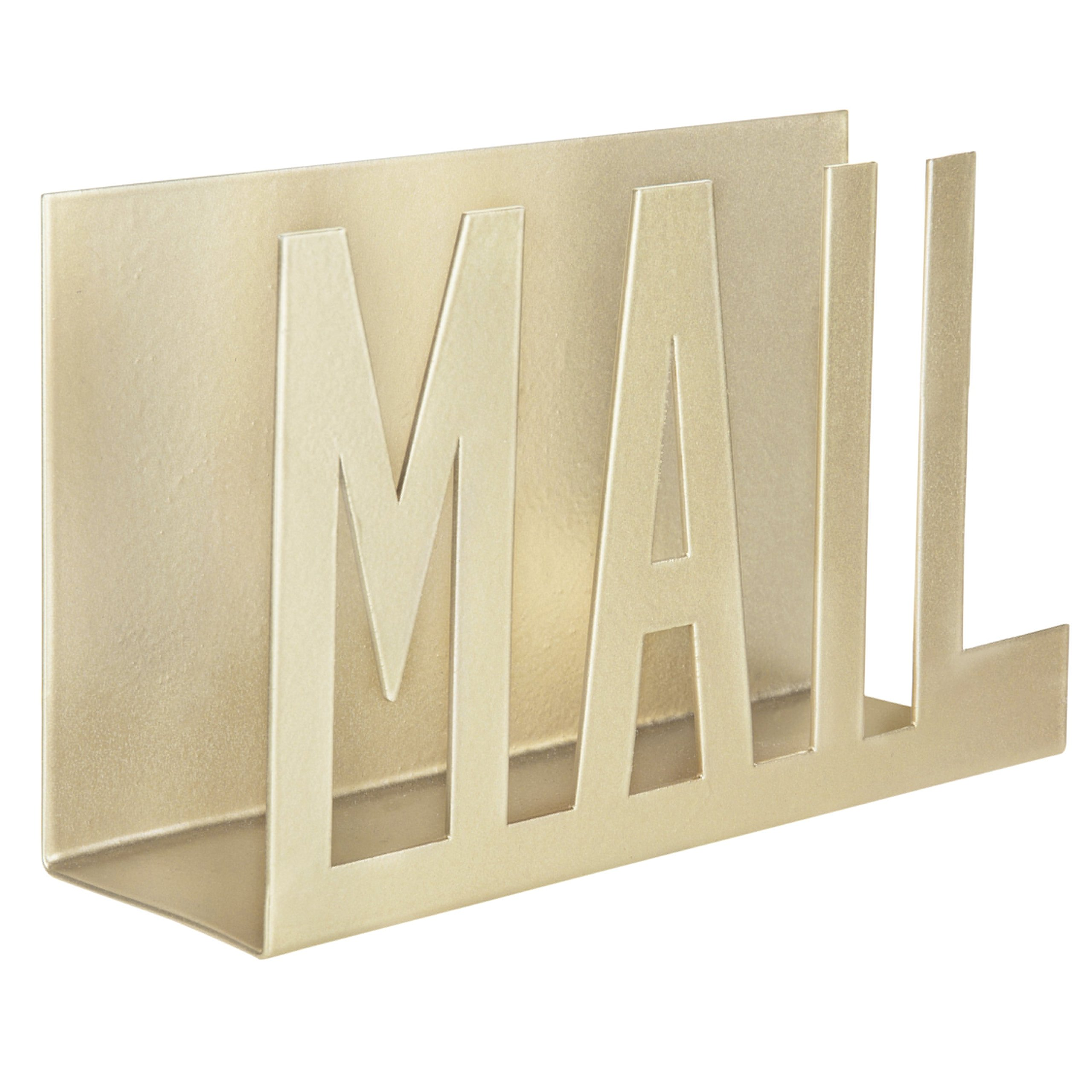 MyGift Modern Brass-Tone Metal Cutout-Design Mail Holder by MyGift
