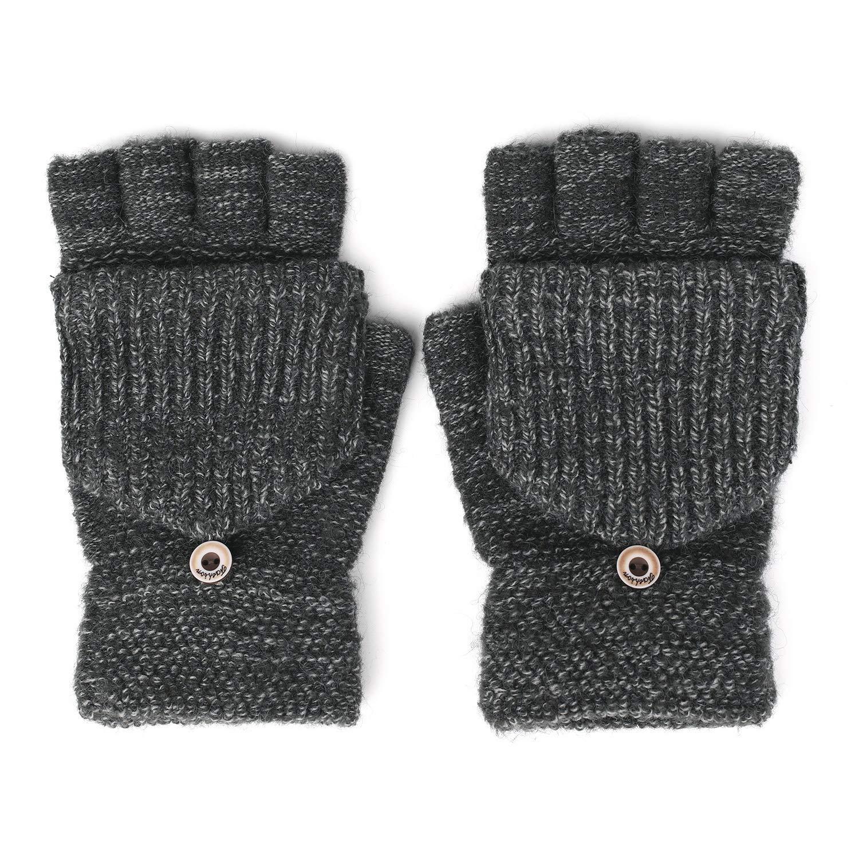 Flammi Men's Knit Half Fingerless Gloves with Mitten Flap Convertible Mittens F Flammi