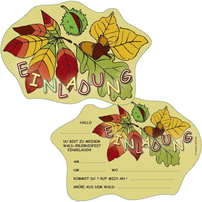 6 Einladungskarten * WALD * Für Kindergeburtstag Und Party Von DEKOSPASS //  Kinder Geburtstag Party Kinderparty Waldparty Einladung Einladungen Karte  ...