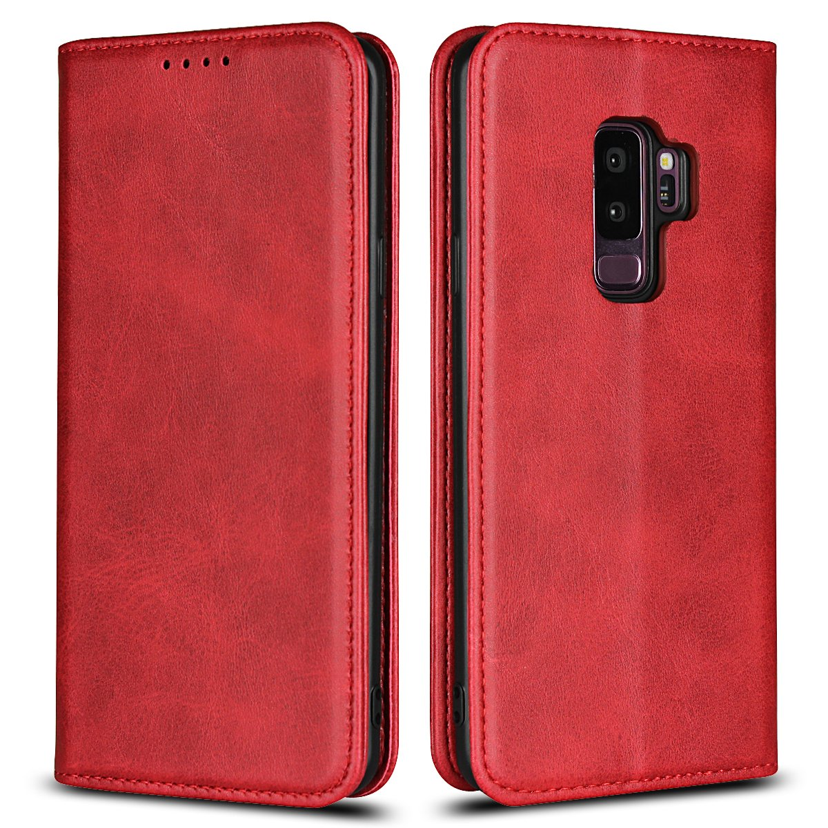 Jaorty Galaxy S9 Plus Wallet Case, Samsung S9 Plus Case, Premium PU Leather Flip Folio Case with Card Slot, Stand Holder and Magnetic Closure [TPU Shockproof Interior Protective Case], Red Wine