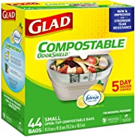 Glad 100% Compostable OdourShield Easy-Tie Bags, Small, Lemon Scent, 44 Bags