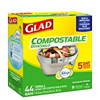 Glad 100% Compostable OdourShield  Easy-Tie  Small Bags, Lemon Scent, 44 bags