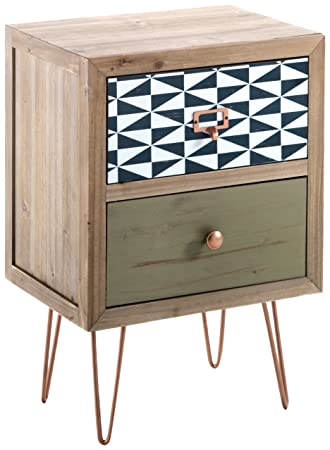 Tomasucci Kijo Bedside Table, 2 Drawers, Wood, Multi Coloured, 30 X