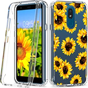 Skyfree LG Aristo 4 Plus Case LG Journey Clear Phone Cases Dual Layer Heavy Duty K30 Protective Cover Sunflower LG Escape Plus Phone Case for Girls Women LG Tribute Royal