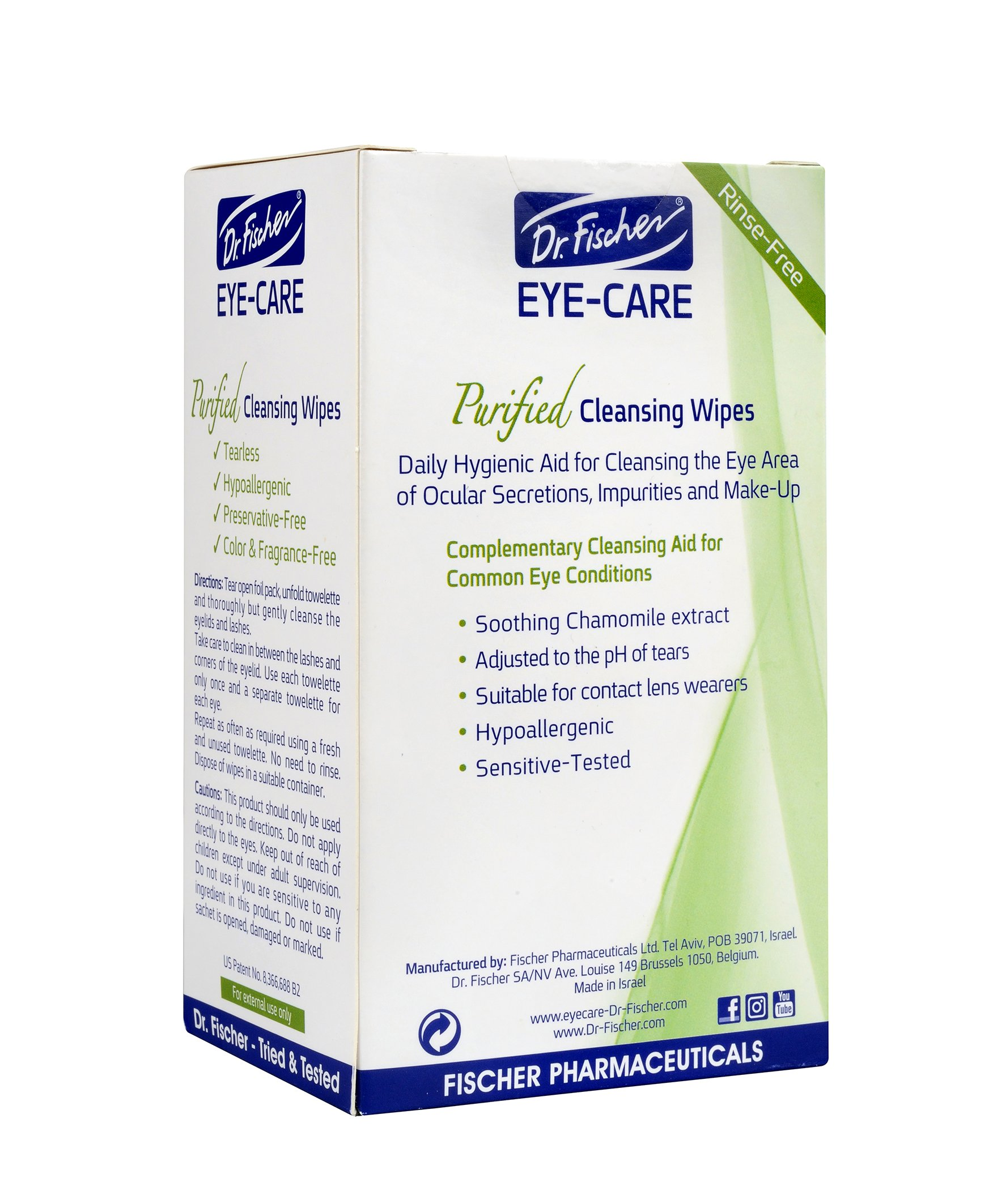 Dr. Fischer Premium, Purified, Non-Irritating & Hypoallergenic Eyelid Wipes Pre-moistened for complementary treatment of Red Eye, Dry Eye, and Blepharitis & Conjunctivitis Cleanses Make-up (Pack of 6) by Dr. Fischer (Image #4)