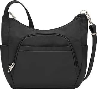 Travelon Anti-Theft Classic Crossbody Bucket Bag, Black (Black) - 42757 500-Black-One Size