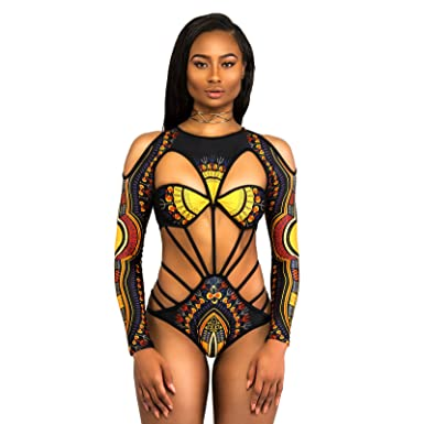f87f1227abb IWEMEK Sexy Women Long Sleeve African Style Print String Cut Out Hollow  Bikini Erotic Monokinis Swimwear