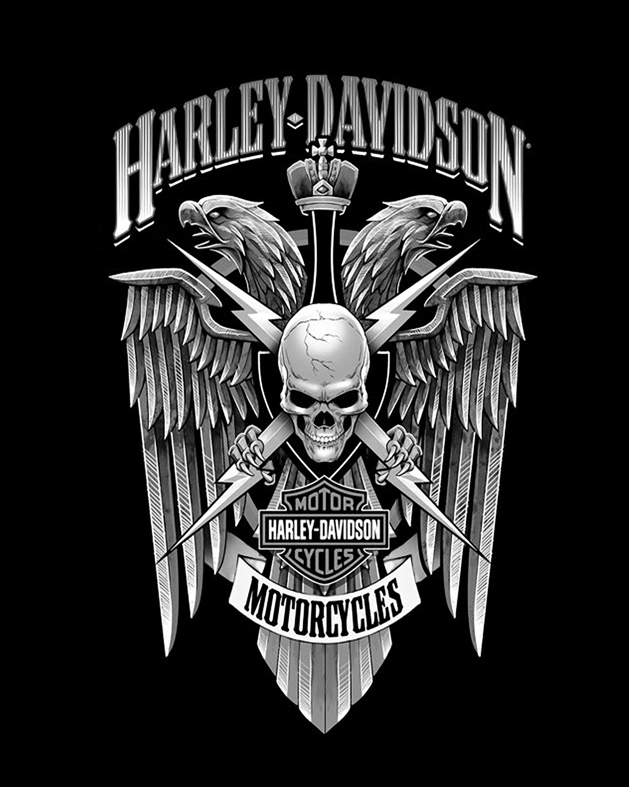 Harley Davidson Skull Design Wall Art Print 8 X10 Harley Wall
