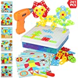 Electric Drill Puzzle Toys, STEM Toys for Kids 261 Pcs Building Toys Sets with Drill Puzzle Toys and Button Art Toys for…