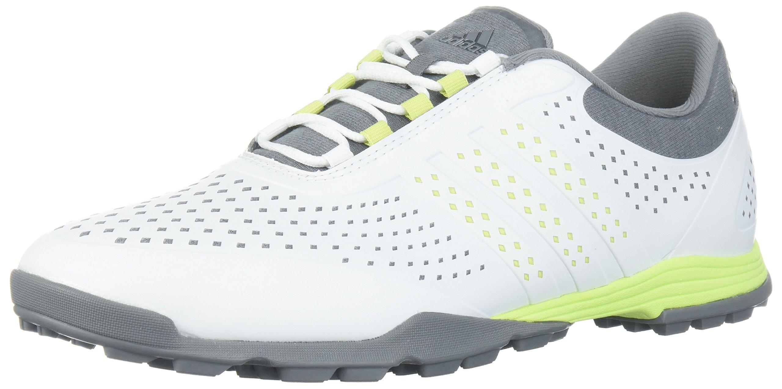 adidas Women's Adipure Sport Golf Shoe, White/Semi Frozen Yellow/Grey, 5.5 Medium US