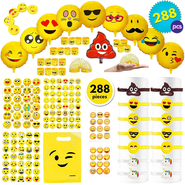 THE TWIDDLERS 288pcs Emoji Fiesta Juego De Accesorios para Regalar a Nino | Piñatas Bolsas Cumpleaños Halloween Decoracion | Smiley Globos Muelles ...