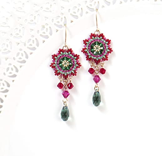 36dfbecde5d6e Amazon.com: Handmade Red & green Swarovski Crystal Beaded Earrings ...