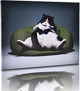Canvas Wall Art for Bedroom Teen Boy and Girls,Wall Decor for Living Room, Cute Cat Sit on The Bean Bag with a Mobile Phone ,Already Framed Canvas Art for Home Decor,16x12''