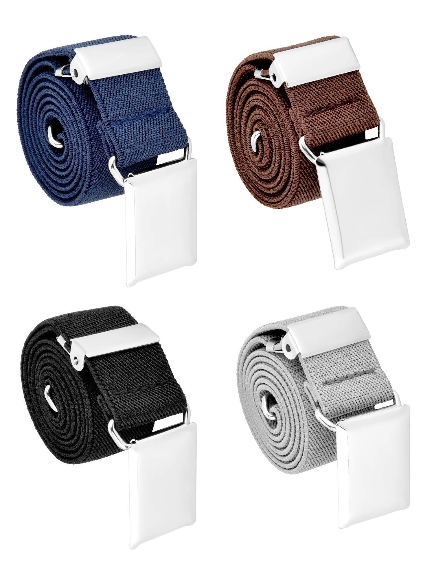 Tatuo 4 Pieces Kids Buckle Belt Kid Adjustable Elastic Belt Boy Stretch Belt for Children Favor (black, gray, brown, navy blue) by Tatuo (Image #4)