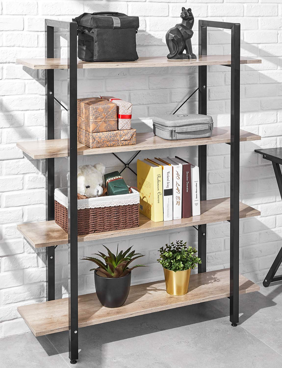 ORAF Bookshelf 4 Tier Industrial Style Bookcase, Solid 130lbs Load Capacity per Shelf Sturdy Bookshelves with Steel Frame, Wide Storage Organizer 41Wx12Dx55H inches Home Office Shelf, Wood-Grain