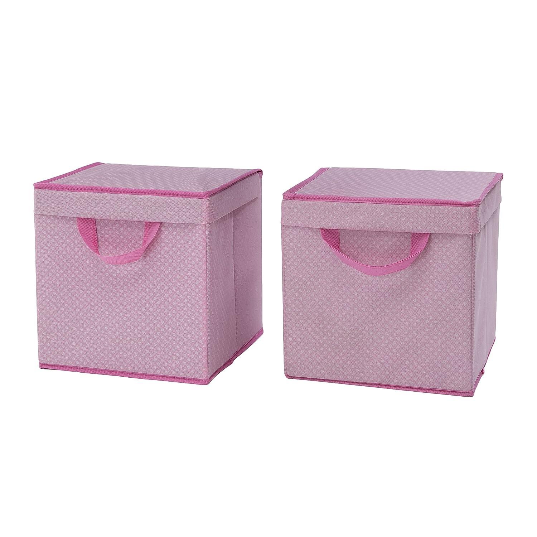 Delta Children 2 Piece Lidded Storage Bins Barely Pink