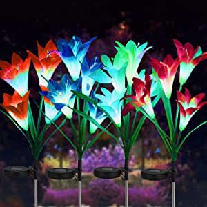 FORUP 4 Pack Solar Garden Stake Flower Lights, Outdoor Lily Flower Lights with 16 Lily Flowers, Multi Color Changing LED Lily Solar Powered Lights for Patio, Lawn, Garden, Yard Decoration