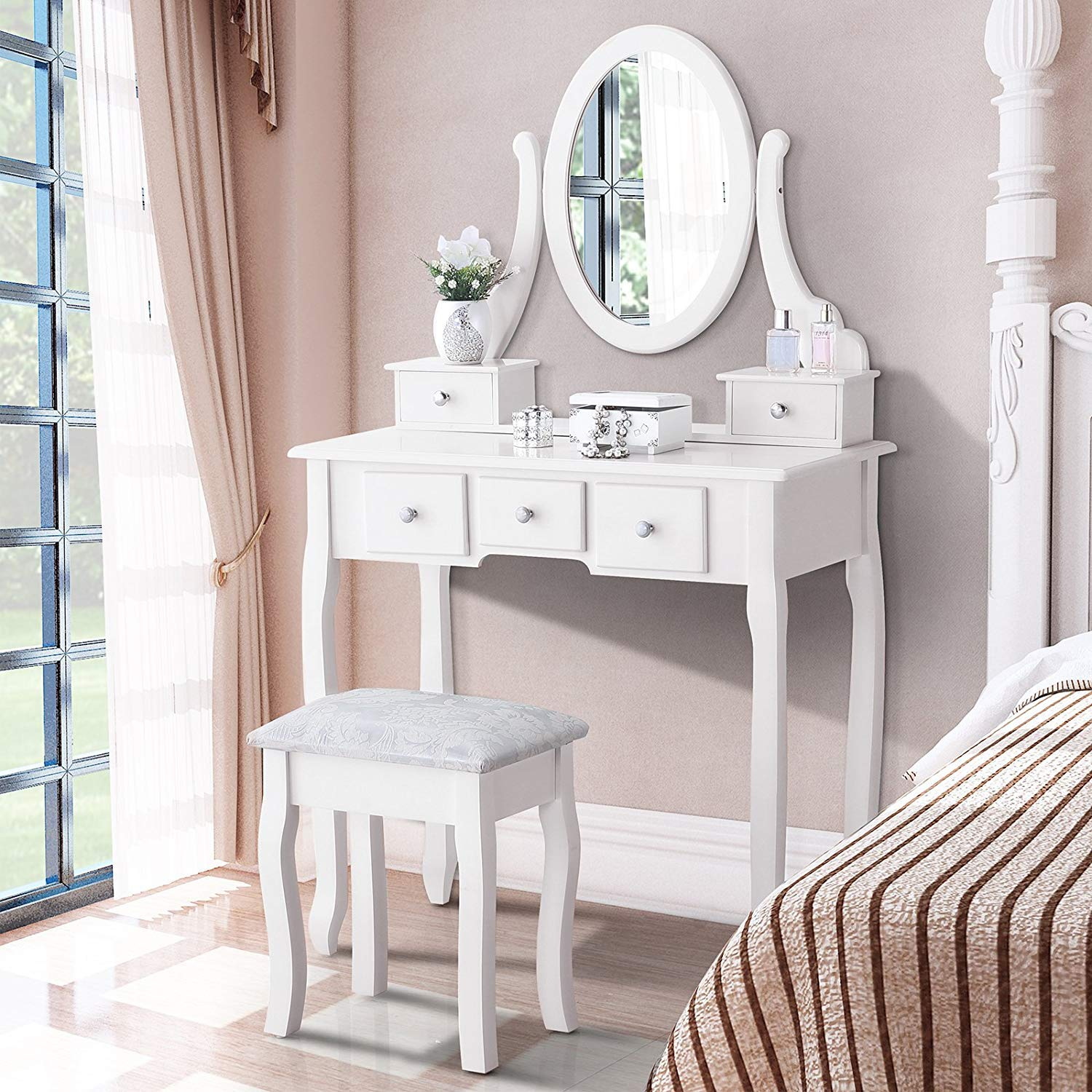 Mecor Vanity Table Oval Mirror,Makeup Vanity Set Cushioned Stool Wood Dressing Table with 5 Drawers for Girls Women Bedroom Furniture,White by mecor