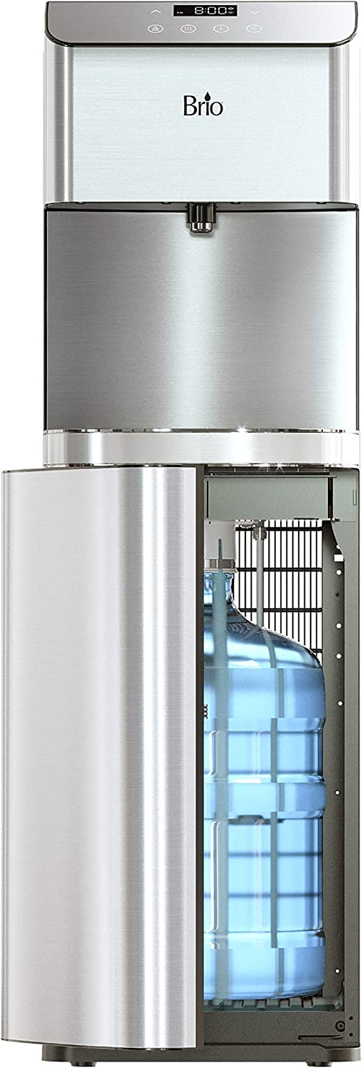 Brio Moderna Self Cleaning Bottom Load Hot, Cold & Room Water Cooler Tri Temp W/Touch Dispenser Feature